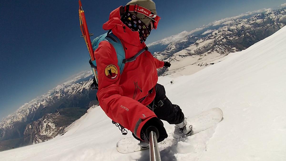 спуск с эльбруса на сноуборде