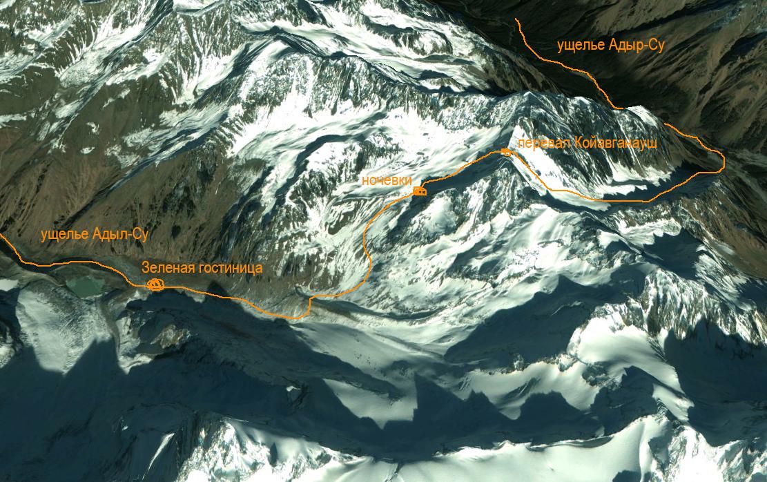перевал из Адыл-су в Адыр-су